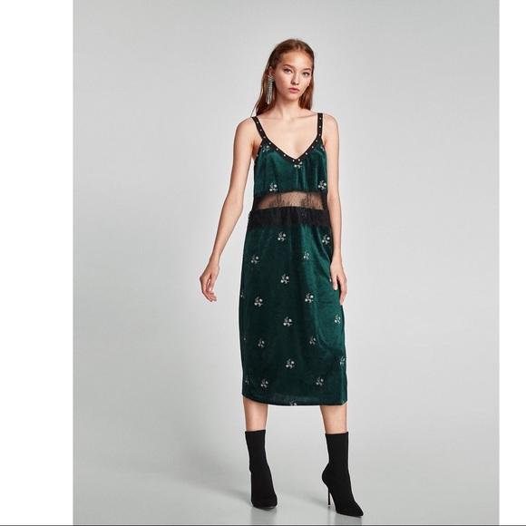 33265af1 Zara Dresses | Nwt Trafaluc Green Velvet Dress Sz L | Poshmark